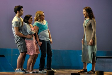Nick [Patrick Wagstaff], Carla Carla [Jessica Savitz] and Donna [Michelle Fink] cower from Barb [Lisa Bol] (Laura Winegar | For The Post)